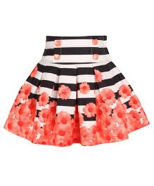 Cutecumber Floral Pleated Party Skirt - Orange