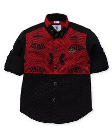 Oks Boys Full Sleeves Printed Shirt - Maroon And Black