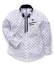 Oks Boys Full Sleeves Shirt Floral Print - White