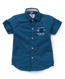 Oks Boys Half Sleeves Shirt - Peacock Blue