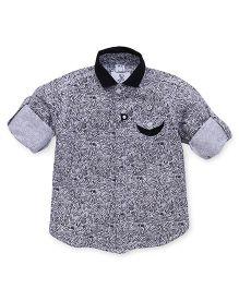 Oks Boys Full Sleeves Printed Shirt - White And Black