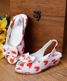 D'chica Little Hearts Peep Toes With Bow Applique & Wedge Heel - White & Red