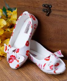D'chica Kiss Print Peep Toes With Bow Knot - White & Red