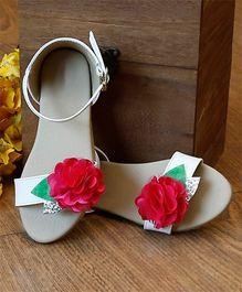 D'chica Flower Applique Classy Sandal - Grey