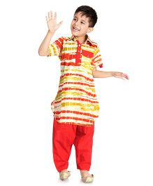 Little Pockets Store Tie & Dye Pathani Kurta With Contrast Pajama - Red