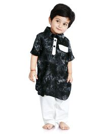 Little Pockets Store Tie & Dye Pathani Kurta With Contrast Pajama - Black