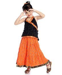 Little Pockets Store Set Of Printed Lehenga & Cross Over Kurti - Orange