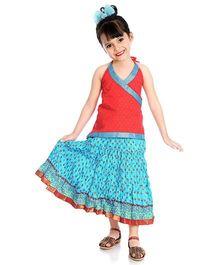 Little Pockets Store Set Of Printed Lehenga & Cross Over Kurti - Red & Blue