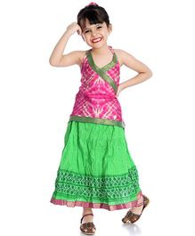 Little Pockets Store Set Of Printed Lehenga & Cross Over Tie & Dye Kurti - Green