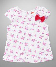 Babyhug Short Sleeves Bow Top Floral Print - White