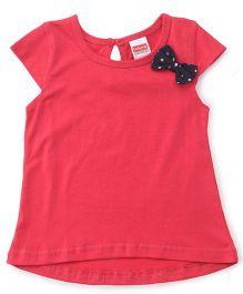 Babyhug Short Sleeves Top Polka Dot Bow - Coral