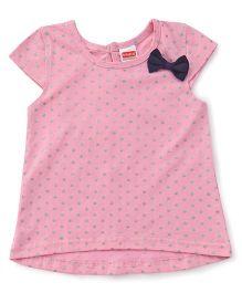 Babyhug Short Sleeves Top Bow Motif - Pink