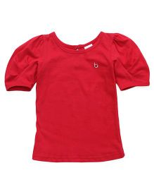 Babyhug Puff Sleeves Top - Coral Red