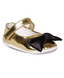 Pikaboo Booties With Bow Applique - Golden Black