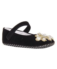 Pikaboo Booties With Zari Motif And Pearls - Black