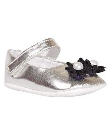Pikaboo Booties With Floral Appliques - Silver