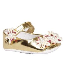 Pikaboo Booties With Floral Appliques - Golden
