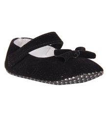 Pikaboo Velvet Booties With Bow Applique - Black
