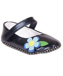 Pikaboo Booties With Floral Applique - Dark Blue