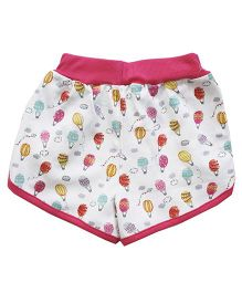 Earth Conscious Organic Cotton Shorts Air Balloon Print - Pink