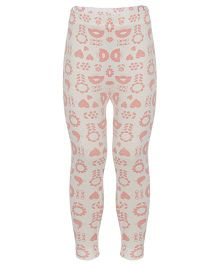Earth Conscious Leggings Floral & Heart Print - Cream & Peach