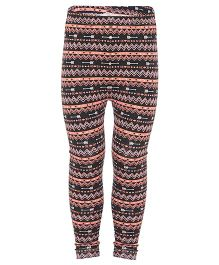 Earth Conscious Printed Leggings - Black & Peach