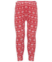 Earth Conscious Printed Leggings - Red