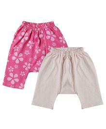 Earth Conscious Organic Cotton Diaper Leggings Pack Of 2 - Pink Off White