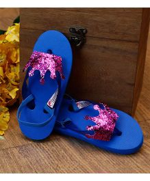 D'Chica Princess Crown Applique Flip Flops - Royal Blue