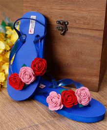 D'Chica Rose Applique Flip Flops - Royal Blue