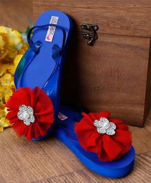 D'Chica Flower Diamante Embellished Flip Flops - Royal Blue & Red