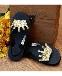 D'Chica Princess Flip Flops - Black