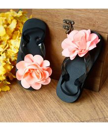 D'Chica Big Flower Applique Flip Flops - Black