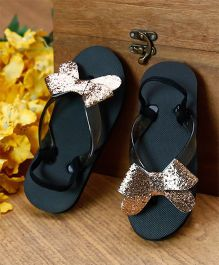 D'Chica Glitterati Bow Flip Flops - Black & Golden