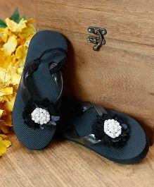D'Chica Flower & Pearl Embellished Flip Flops - Black