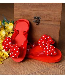 D'Chica Polka Bow Applique Flip Flops - Red