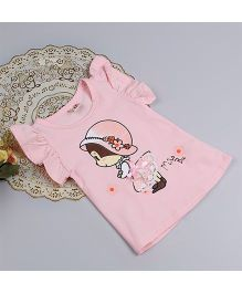 Aww Hunnie Baby Print Summer Ruffle Sleeve Top - Pink