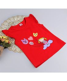 Aww Hunnie Cap Sleeves Baby Summer Top - Red