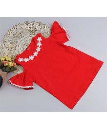 Aww Hunnie Cold Shoulder Lace Applique Top - Red