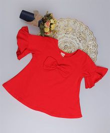 Aww Hunnie Bell Sleeve Bow Applique Top - Red