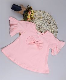 Aww Hunnie Bell Sleeve Bow Applique Top - Pink