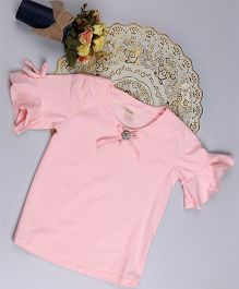 Aww Hunnie Bell Sleeves Top - Pink