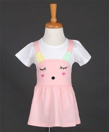 Aww Hunnie Kitten Inspired Gather Dress - Pink & White