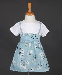 Aww Hunnie Frill Elasticated Flower Printed Dress- Blue