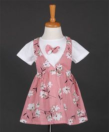 Aww Hunnie Frill Elasticated Flower Printed Dress- Pink