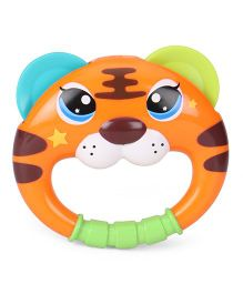 Sunny Shaking Bell Zodiac Rattle Tiger Design - Orange