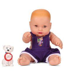 Speedage Cute Baby Doll With Pet Purple - 21 cm