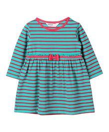 Beebay Full Sleeves Stripes Organic Dress - Green Red