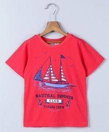 Beebay Half Sleeves Sail Boat Print Nautical T-Shirt - Red