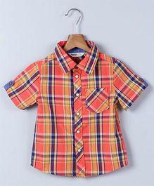 Beebay Half Sleeves Checks Shirt - Orange